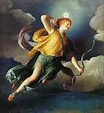 """31 - ARTEMISA. Diosa, hija de Zeus y Leto, hermana gemela de Apolo. Se la representa cazando con un ciervo; su nombre latino es """"Diana"""". Ella misma es un manantial de la salud, preside los alumbramientos."""